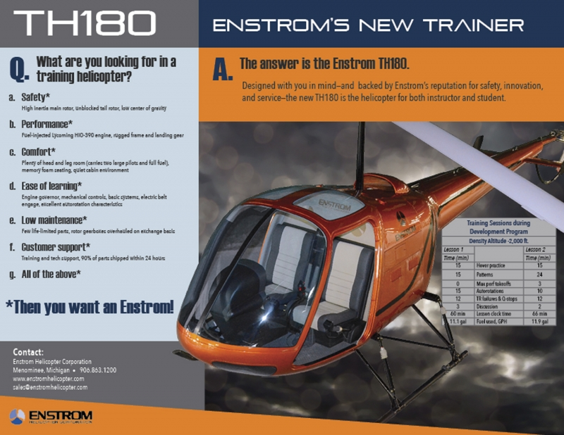 Enstrom's new Piston Trainer - the TH180